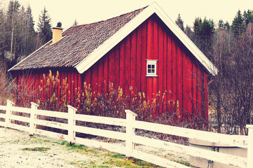Red od wooden barn