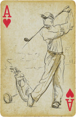Golf Player - An hand drawn picture on old card