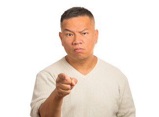 Angry man pointing his finger at somebody white background