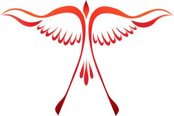 Stylized phoenix bird rising