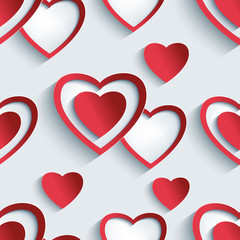 Seamless pattern with 3d hearts for Day Valentine