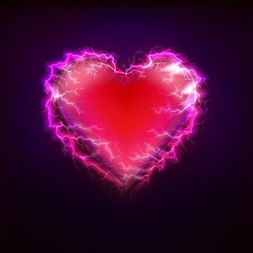 red heart love symbol at lightning storm graphic design