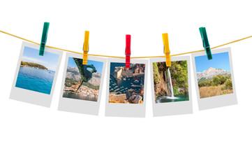 Five photos of Croatia on clothesline