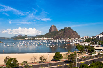 View of Sugarloaf Mountain from Botafogo Mall in Rio de Janeiro