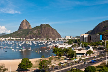 Wall Mural - View of Sugarloaf Mountain from Botafogo Mall in Rio de Janeiro