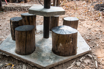 Stumps seats in the garden made from wooden log