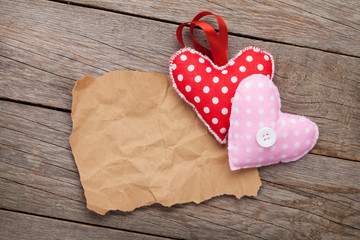 Blank old piece of paper and vintage handmaded valentines day to