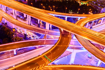 shanghai elevated road junction and interchange overpass at nigh