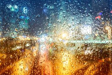 Drops of rain on glass
