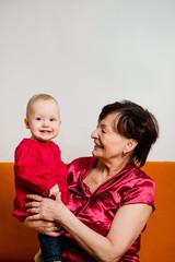 With grandchild - happy retirement