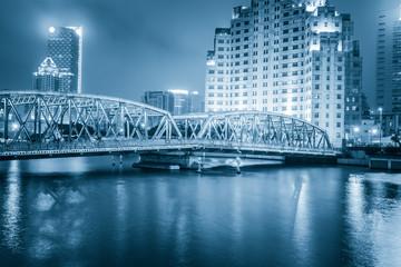 Shanghai Waibaidu bridge panorama at night with colorful light o