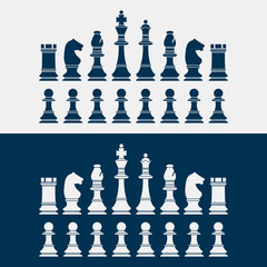 set of chess pieces silhouettes. vector illustration