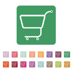 The shopping cart icon. Shopping cart. Flat