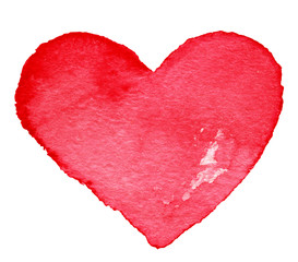 Hand drawn Valentine's day painted red heart. Design element - A
