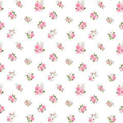 Cute vintage rose pattern. Vector illustration