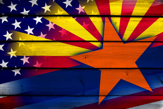 USA and Arizona State Flag on wood background