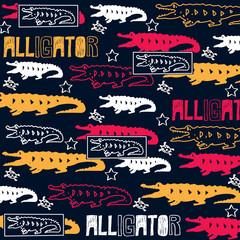 alligator crocodile cartoon pattern vector illustration