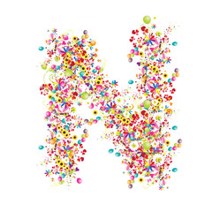 Floral letter N for your design.