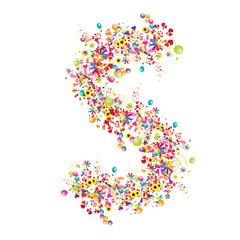 Floral letter S for your design.
