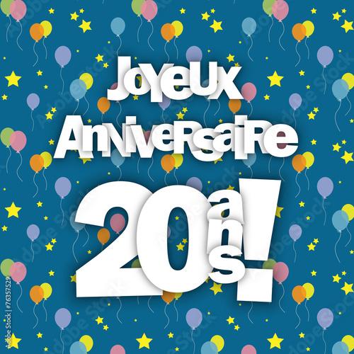 Carte Joyeux Anniversaire Pour Tes 20 Ans Fete Felicitations