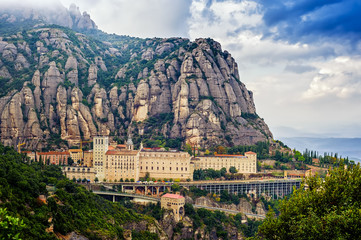 Overview Montserrat monastery Wall mural