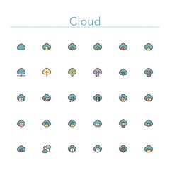 Cloud Colored Line Icons