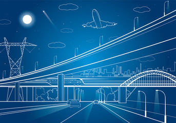 Car overpass, infrastructure, urban plot, plane takes off