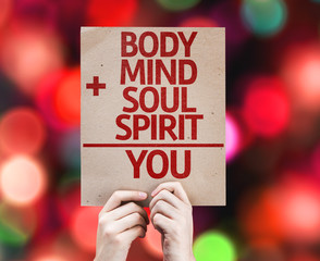 Body + Mind + Soul + Spirit = You card with colorful background