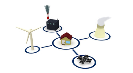 Energy: Home Surrounded By Power Sources Like Wind And Nuclear