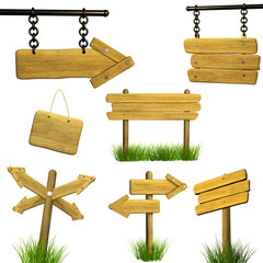 Wall Mural - Set of wooden signboards