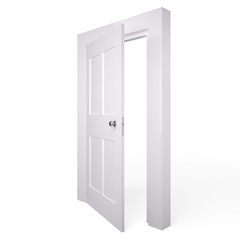 Opened white door, 3D