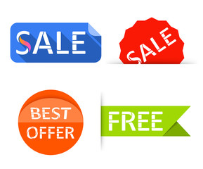 Sale labels, stickers. Shopping tags banners.