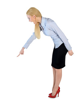 Business woman angry pointing down