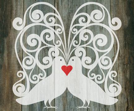 valentine day wedding background doves heart decoration