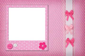Photo frame on pink polka dot background