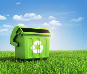 Green plastic trash recycling container ecology concept, with la