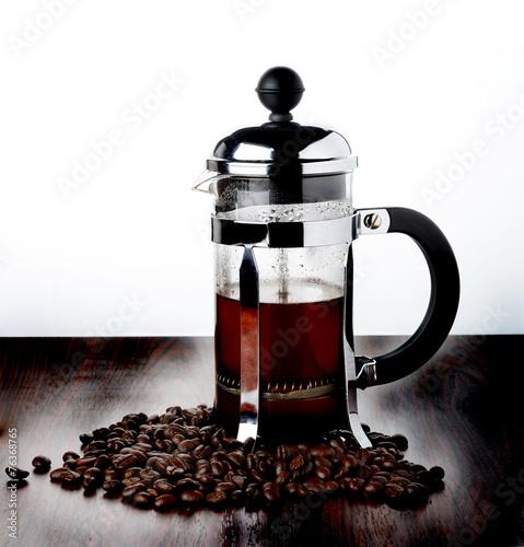 coffee french press pot stockfotos und lizenzfreie bilder auf bild 76368765. Black Bedroom Furniture Sets. Home Design Ideas