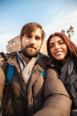Tourists Couple Taking Selfie
