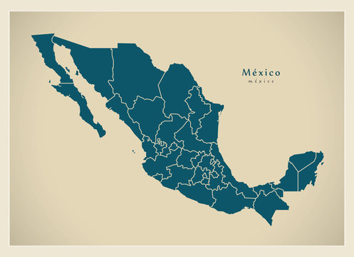 Modern Map - Mexico with federal states MX