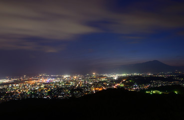 Cityscape of Morioka in the twilight in Iwate, Japan