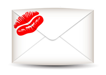 Envelope with the print of lips