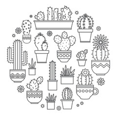 linear design potted cactus. corporate logo.