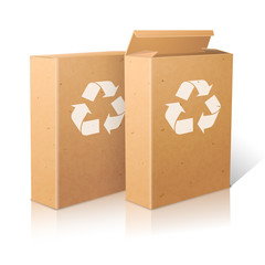 Two realistic white blank paper ecologic craft packages with