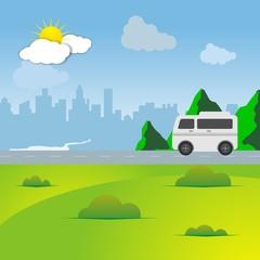 family car caravan vacation trip