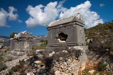 Lycian tomb in the village Sdima, Turkey