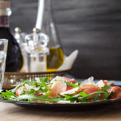Arugula Salad with Shaved Parmesan and Prosciutto Crudo