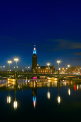 Night view of the Stockholm City Hall, Sweden