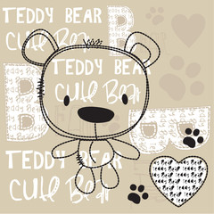cute teddy bear with paw vector illustration