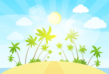 tropical island with palm tree ocean summer vacation vector