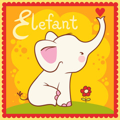 Illustrated alphabet letter E and elephant.